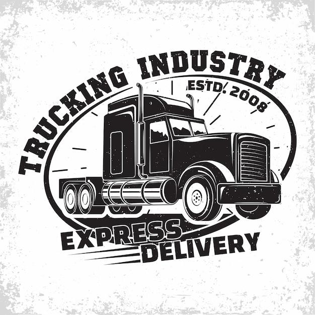 Design de logotipo de empresa de caminhões, emblema da empresa de aluguel de caminhões, carimbos de impressão da empresa de entrega, emblema de tipografia de caminhão pesado Vetor Premium