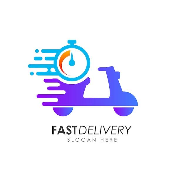 Design de logotipo de entrega rápida de scooter. modelo de design de logotipo de correio Vetor Premium