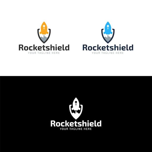 Design de logotipo de escudo de foguete plana Vetor Premium