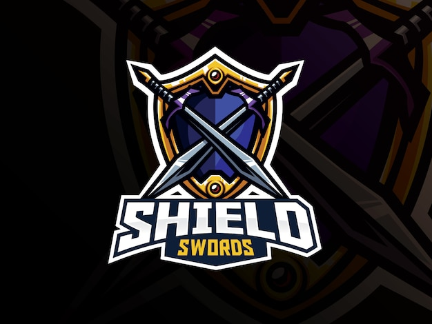 Design de logotipo de esporte de distintivo de escudo e espadas Vetor Premium