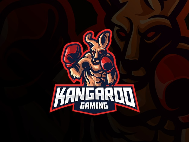 Design de logotipo de esporte mascote canguru Vetor Premium