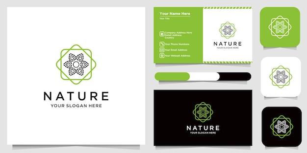 Design de logotipo de flor com estilo de linha de arte. os logotipos podem ser usados para spa, salão de beleza, decoração, boutique. e cartão de visita Vetor Premium