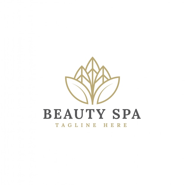 Design de logotipo de flor de beleza minimalista vector Vetor Premium