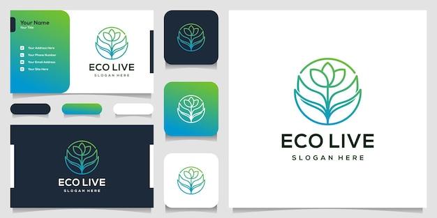 Design de logotipo de folha abstrata e cartão de visita Vetor Premium