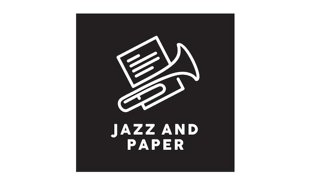 Design de logotipo de folha de música jazz Vetor Premium