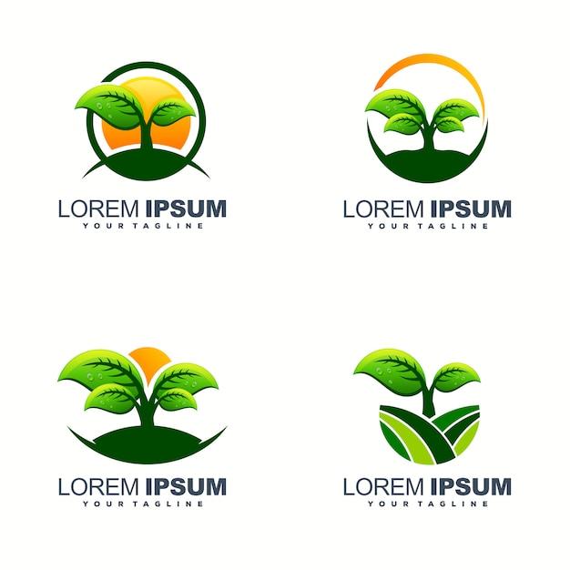 Design de logotipo de folha impressionante Vetor Premium