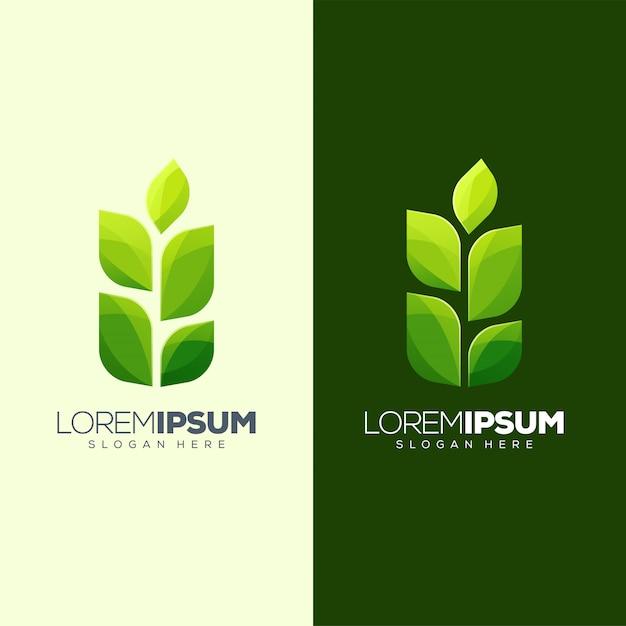 Design de logotipo de folha pronto para uso Vetor Premium