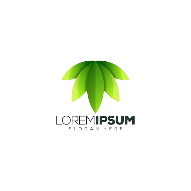 Design de logotipo de folha Vetor Premium