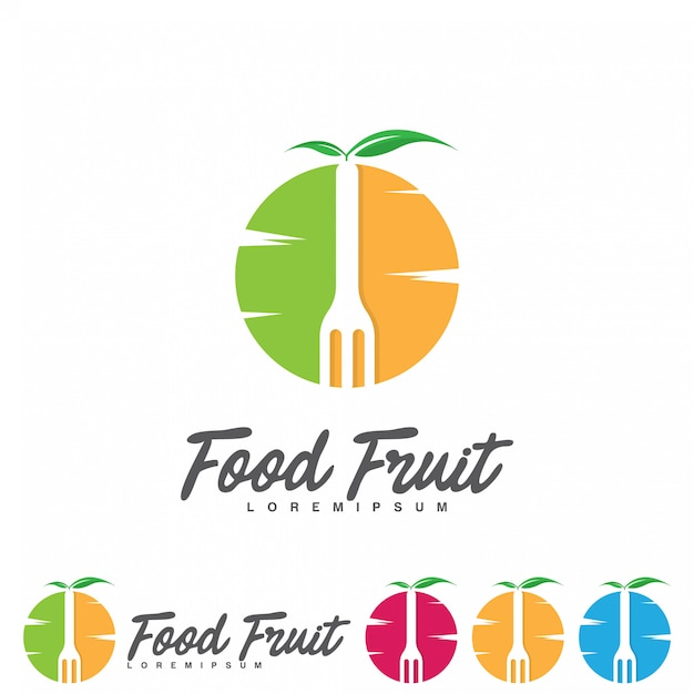 Design de logotipo de frutas criativas Vetor Premium