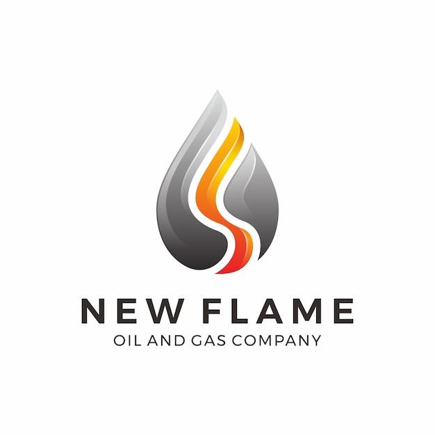 Design de logotipo de gás e óleo com chama Vetor Premium