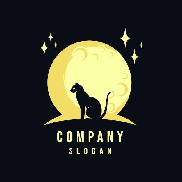 Design de logotipo de gato e lua Vetor Premium