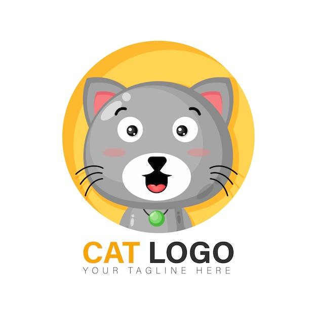 Design de logotipo de gato fofo Vetor Premium