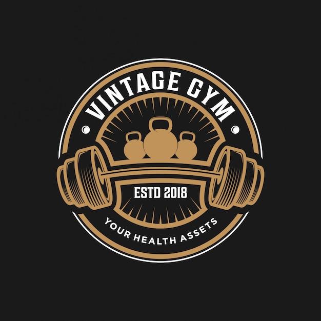 Design de logotipo de ginásio vintage Vetor Premium