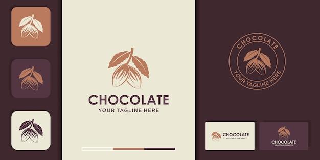 Design de logotipo de grãos de cacau natural e cartão de visita Vetor Premium