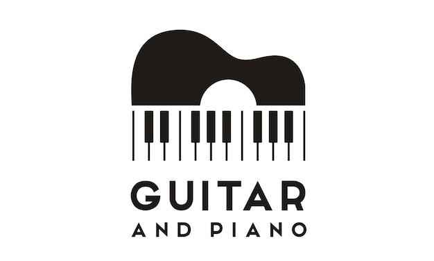 Design de logotipo de guitarra piano Vetor Premium