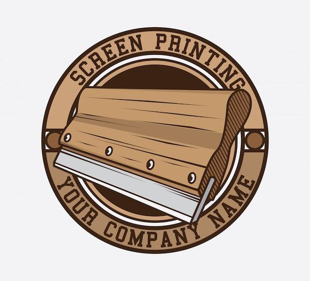 Design de logotipo de impressão de tela Vetor Premium