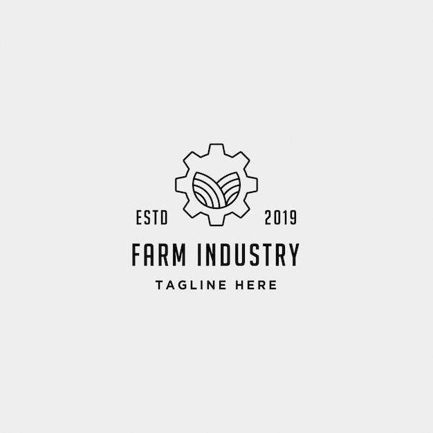 Design de logotipo de indústria de fazenda de engrenagem Vetor Premium