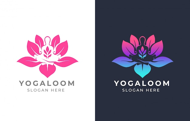Design de logotipo de ioga de lótus Vetor Premium