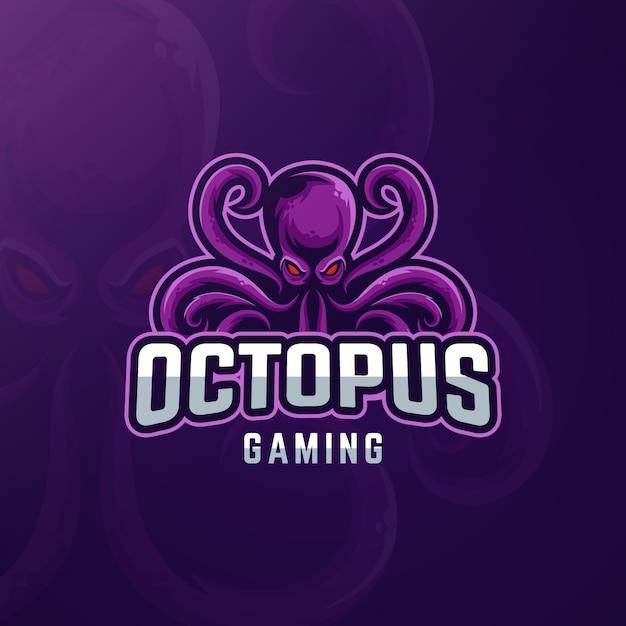 Design de logotipo de jogos com polvo Vetor Premium