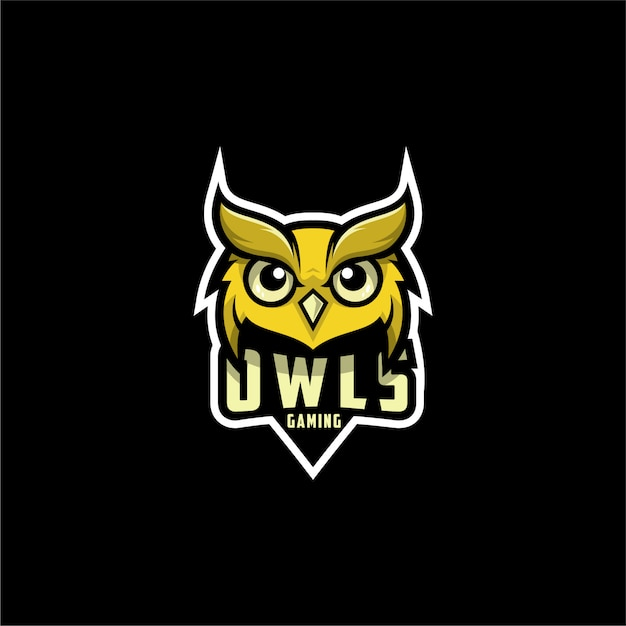 Design de logotipo de jogos de corujas Vetor Premium