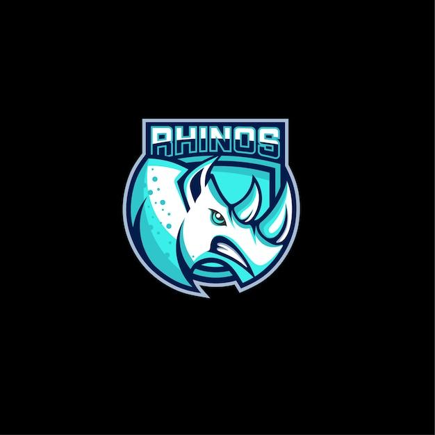 Design de logotipo de jogos de rinoceronte com raiva Vetor Premium
