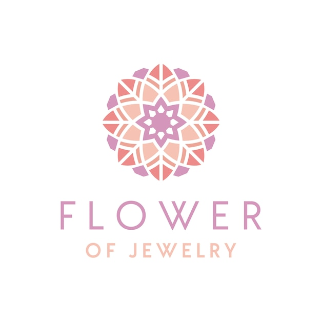 Design de logotipo de joias de luxo artística com enfeite de flor Vetor Premium