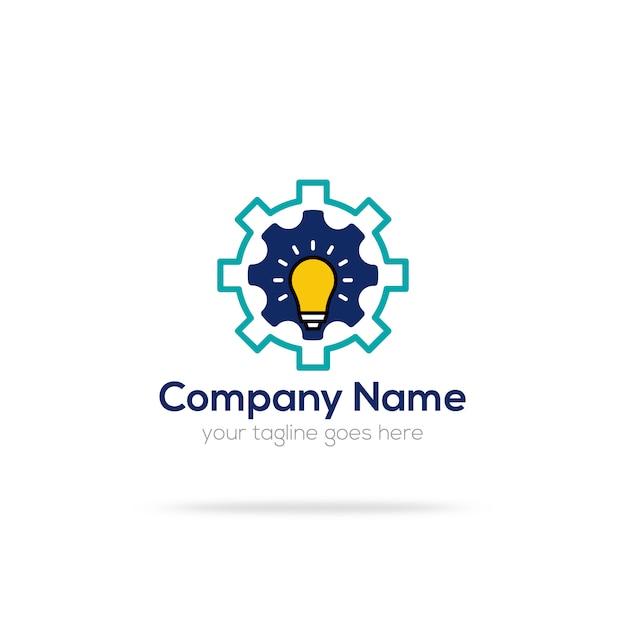 Design de logotipo de lâmpada e engrenagem Vetor grátis