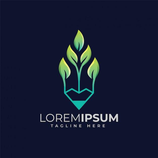 Design de logotipo de lápis de folha Vetor Premium