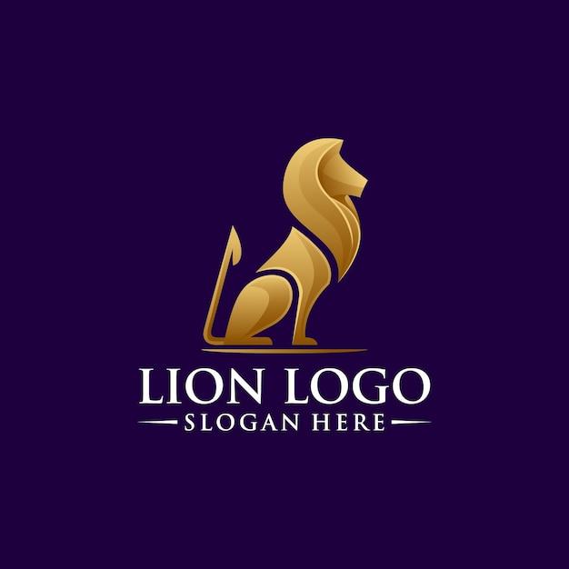 Design de logotipo de leão com vetor Vetor Premium