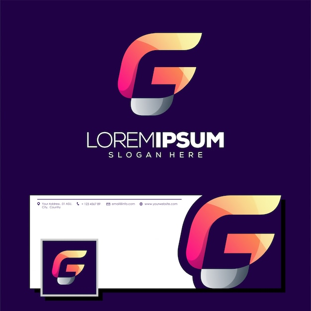Design de logotipo de letra g pronto para uso Vetor Premium