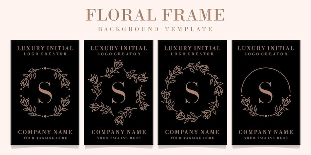 Design de logotipo de letra s de luxo com modelo de fundo de moldura floral Vetor Premium