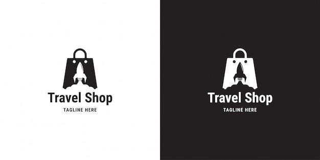 Design de logotipo de loja de viagens. foguete, bolsa, nuvem de compras, modelo de logotipo Vetor Premium