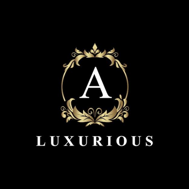 Design de logotipo de luxo com monograma letra a, cor dourada, floreado de luxo Vetor Premium