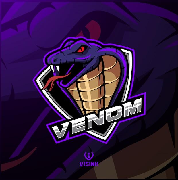 Design de logotipo de mascote de cabeça de cobra Vetor Premium