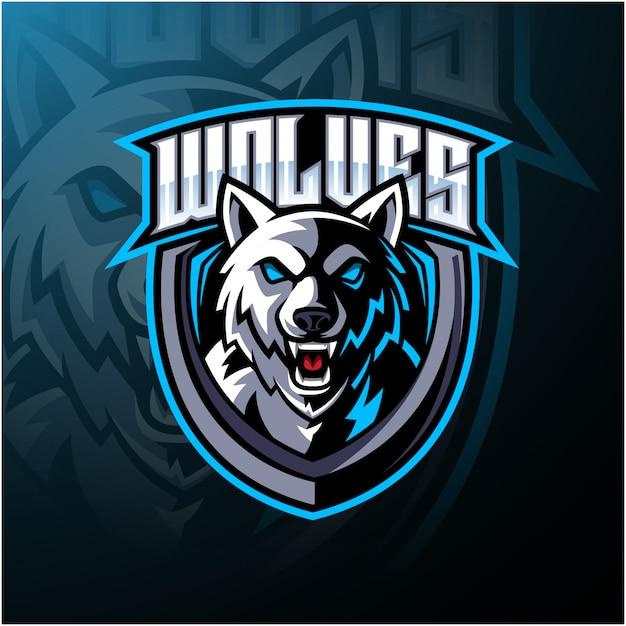 Design de logotipo de mascote de cabeça de lobo Vetor Premium