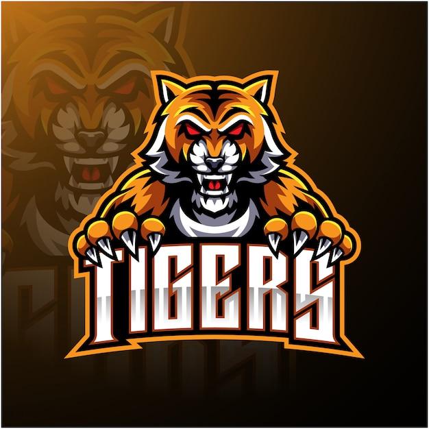Design de logotipo de mascote de cara de tigre Vetor Premium
