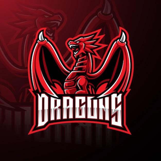 Design de logotipo de mascote de esporte de dragão Vetor Premium
