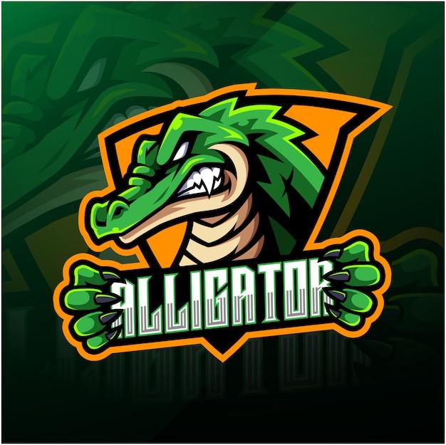 Design de logotipo de mascote de esporte jacaré Vetor Premium