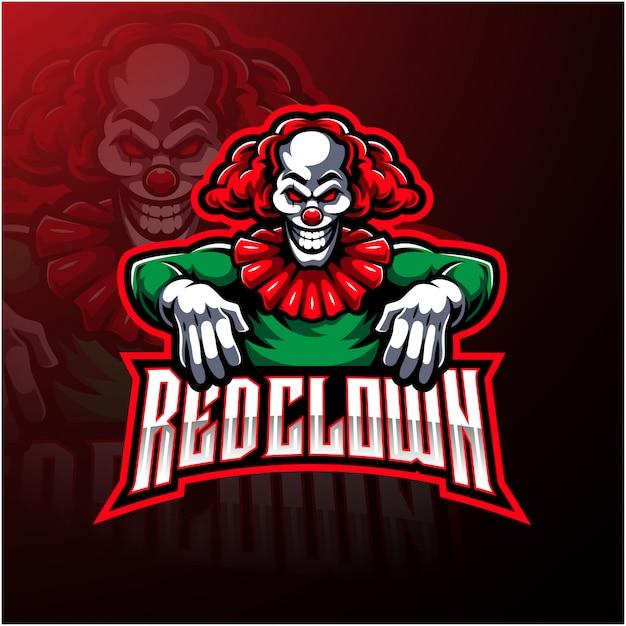 Design de logotipo de mascote de esporte palhaço vermelho Vetor Premium