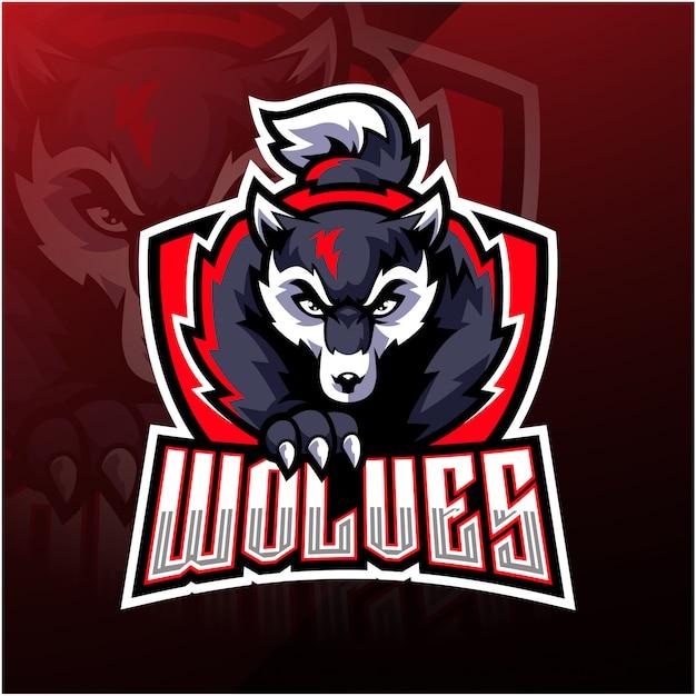 Design de logotipo de mascote de lobo esport Vetor Premium