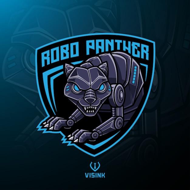 Design de logotipo de mascote de robô de pantera Vetor Premium