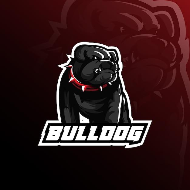 Design de logotipo de mascote de vetor de buldogue com ilustração moderna Vetor Premium