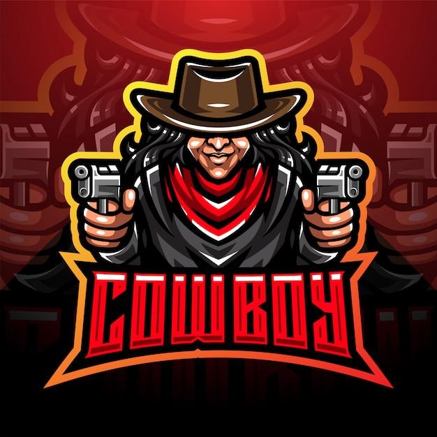 Design de logotipo de mascote esport cowboy Vetor Premium