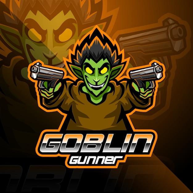 Design de logotipo de mascote esport goblin Vetor Premium