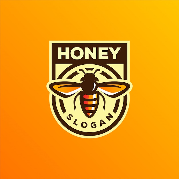 Design de logotipo de mel de abelha Vetor Premium
