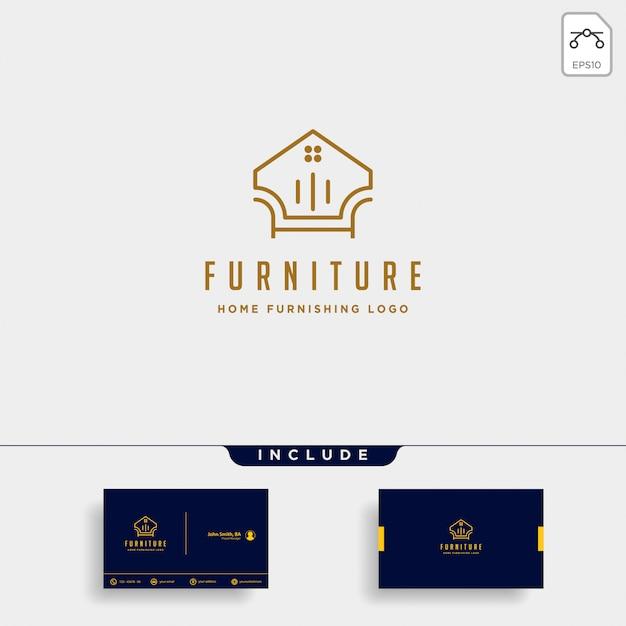 Design de logotipo de mobília com ouro Vetor Premium