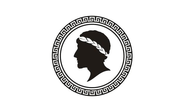 Design de logotipo de moeda grega antiga Vetor Premium