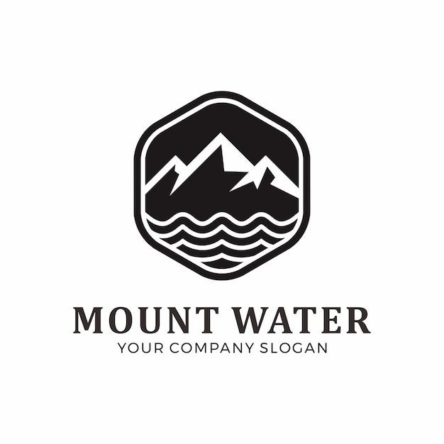 Design de logotipo de montagem e água Vetor Premium