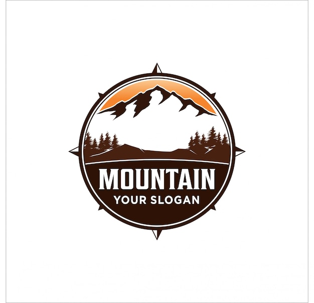 Design de logotipo de montanha Vetor Premium