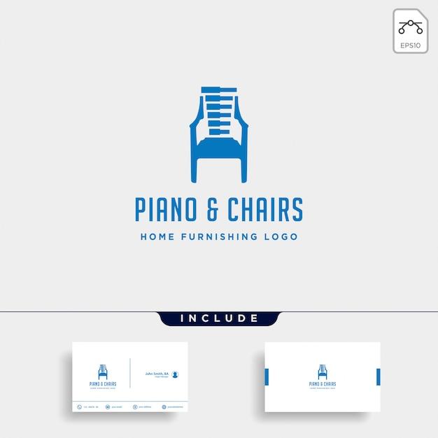 Design de logotipo de móveis de música Vetor Premium